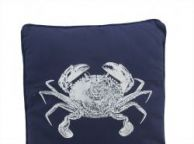 Navy Blue and White Crab Pillow 16