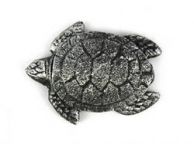 Antique Silver Cast Iron Decorative Turtle Paperweight 4